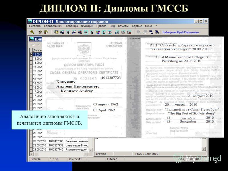 31 ДИПЛОМ II: Дипломы ГМССБ Аналогично заполняются и печатаются дипломы ГМССБ,