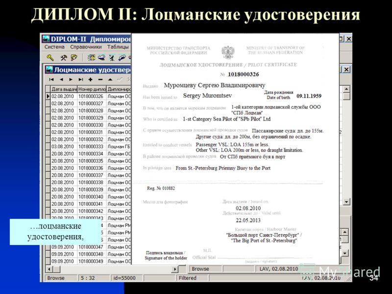 34 ДИПЛОМ II: Лоцманские удостоверения …лоцманские удостоверения,