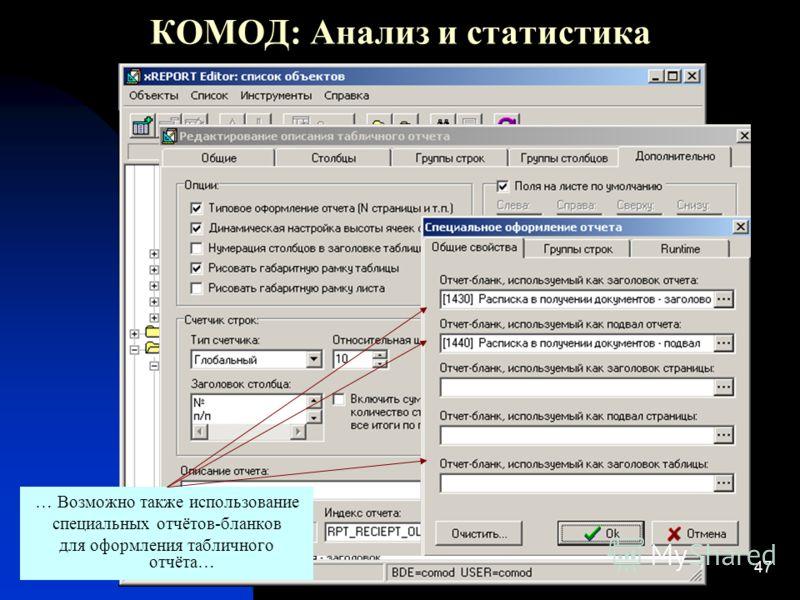47 КОМОД: Анализ и статистика … Возможно также использование специальных отчётов-бланков для оформления табличного отчёта…