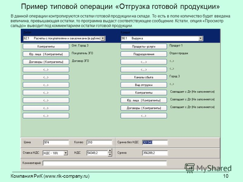 Компания РиК (www.rik-company.ru)10 Пример типовой операции «Отгрузка готовой продукции» В данной операции контролируются остатки готовой продукции на складе. То есть в поле количество будет введена величина, превышающая остатки, то программа выдаст