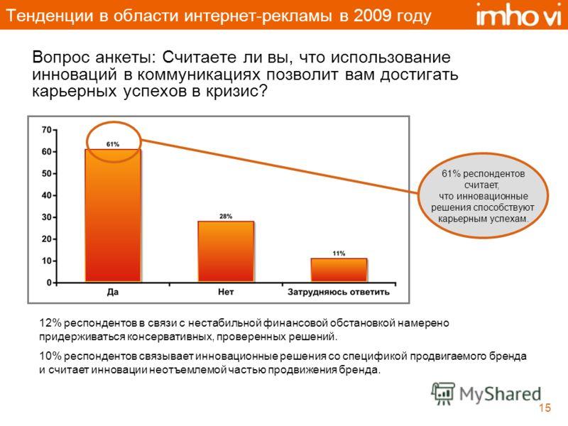 15 Тенденции в области интернет-рекламы в 2009 году Вопрос анкеты: Считаете ли вы, что использование инноваций в коммуникациях позволит вам достигать карьерных успехов в кризис? 12% респондентов в связи с нестабильной финансовой обстановкой намерено