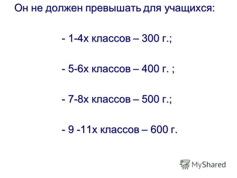 Он не должен превышать для учащихся: - 1-4х классов – 300 г.; - 5-6х классов – 400 г. ; - 7-8х классов – 500 г.; - 9 -11х классов – 600 г.