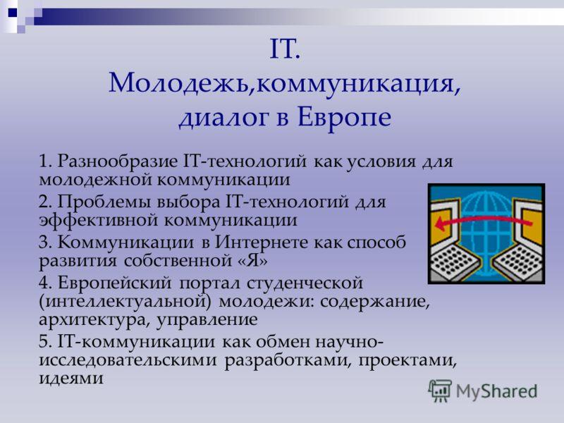 1. Разнообразие IT-технологий как условия для молодежной коммуникации 2. Проблемы выбора IT-технологий для эффективной коммуникации 3. Коммуникации в Интернете как способ развития собственной «Я» 4. Европейский портал студенческой (интеллектуальной)