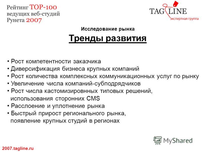 Исследование рынка Тренды развития 2007.tagline.ru Рост компетентности заказчика Диверсификация бизнеса крупных компаний Рост количества комплексных коммуникационных услуг по рынку Увеличение числа компаний-субподрядчиков Рост числа кастомизировнных