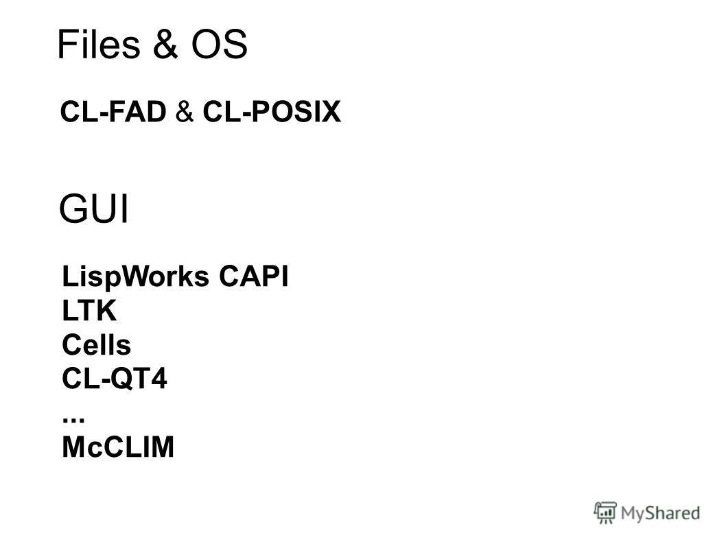 Files & OS CL-FAD & CL-POSIX GUI LispWorks CAPI LTK Cells CL-QT4... McCLIM