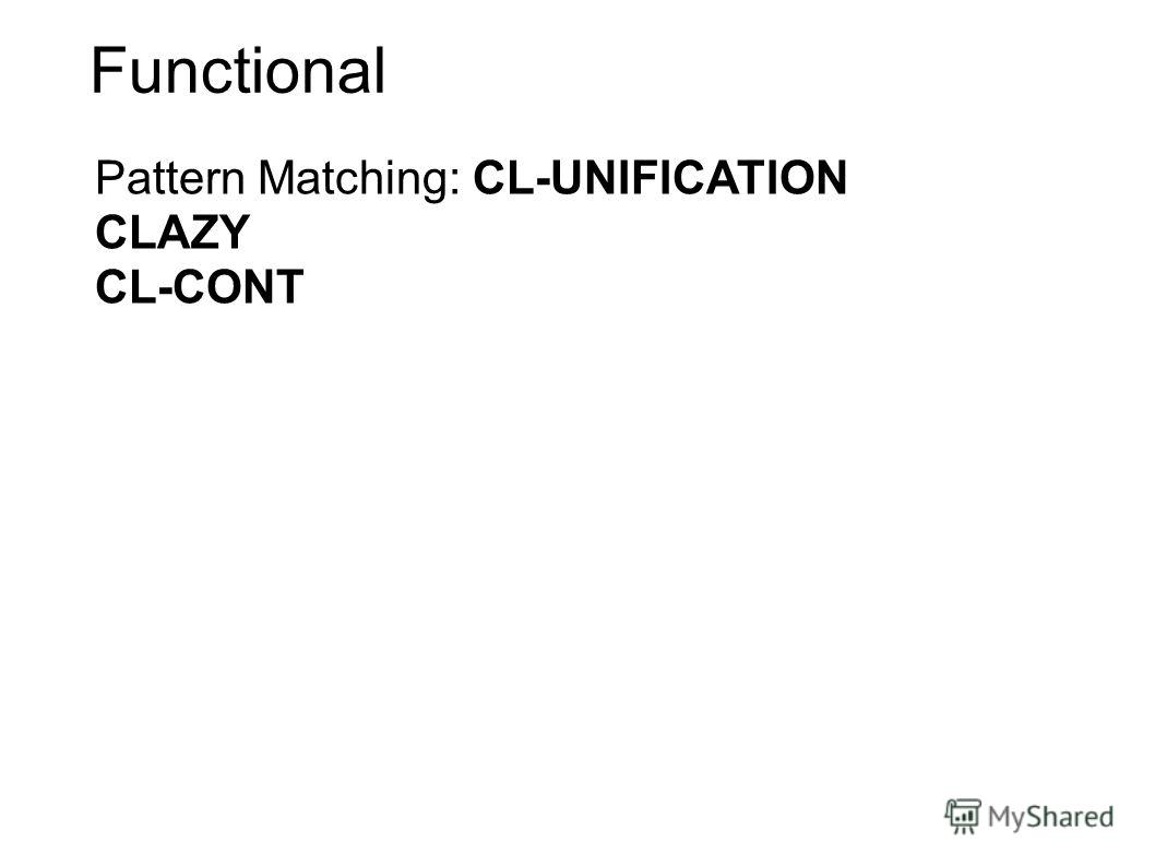 Functional Pattern Matching: CL-UNIFICATION CLAZY CL-CONT