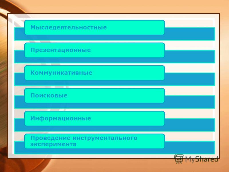 МыследеятельностныеПрезентационныеКоммуникативныеПоисковыеИнформационные Проведение инструментального эксперимента