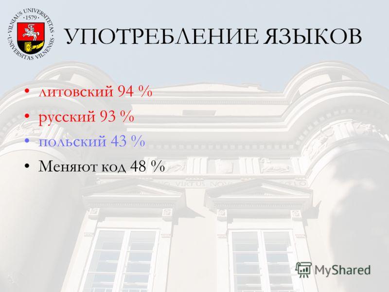 УПОТРЕБЛЕНИЕ ЯЗЫКОВ литовский 94 % русский 93 % польский 43 % Меняют код 48 %