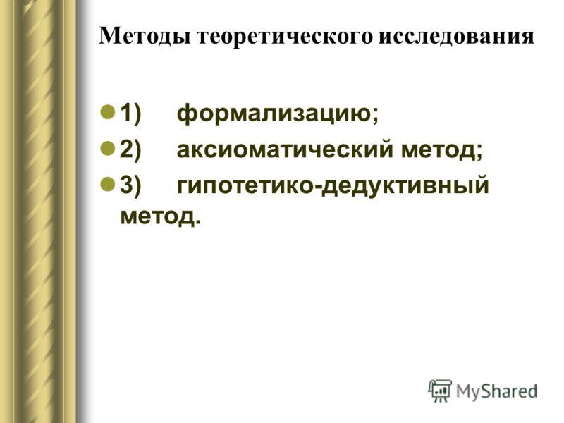 Методы теоретического исследования 1) формализацию; 2) аксиоматический метод; 3) гипотетико-дедуктивный метод.