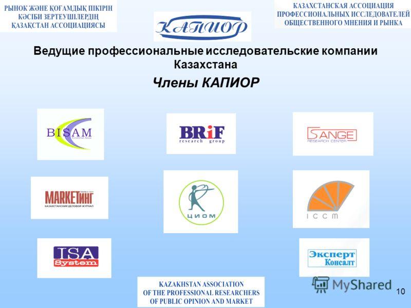 10 Ведущие профессиональные исследовательские компании Казахстана Члены КАПИОР