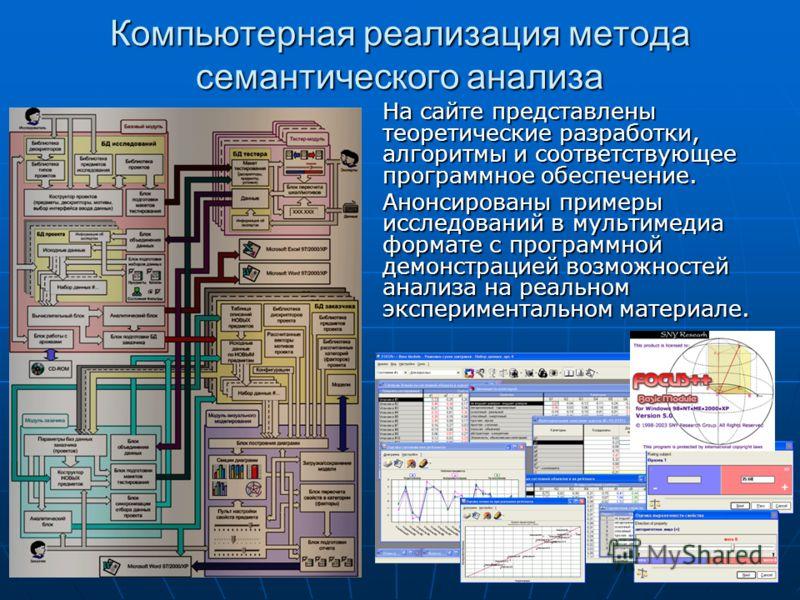 Компьютерная реализация метода семантического анализа На сайте представлены теоретические разработки, алгоритмы и соответствующее программное обеспечение. Анонсированы примеры исследований в мультимедиа формате с программной демонстрацией возможносте