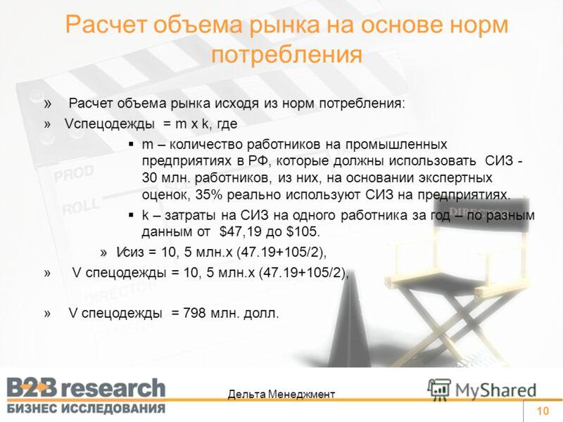 Дельта Менеджмент » Расчет объема рынка исходя из норм потребления: »Vспецодежды = m x k, где m – количество работников на промышленных предприятиях в РФ, которые должны использовать СИЗ - 30 млн. работников, из них, на основании экспертных оценок, 3