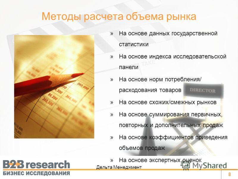 Дельта Менеджмент »На основе данных государственной статистики »На основе индекса исследовательской панели »На основе норм потребления/ расходования товаров »На основе схожих/смежных рынков »На основе суммирования первичных, повторных и дополнительны