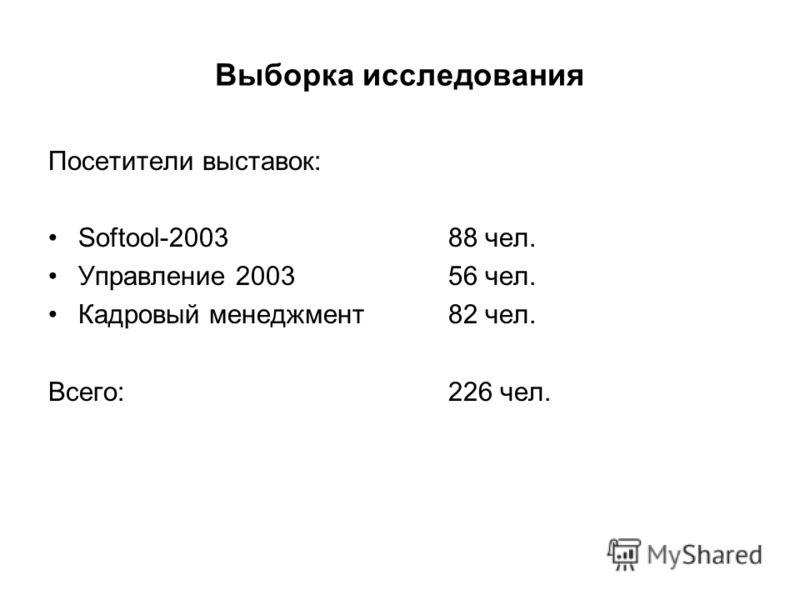Выборка исследования Посетители выставок: Softool-2003 88 чел. Управление 200356 чел. Кадровый менеджмент 82 чел. Всего:226 чел.