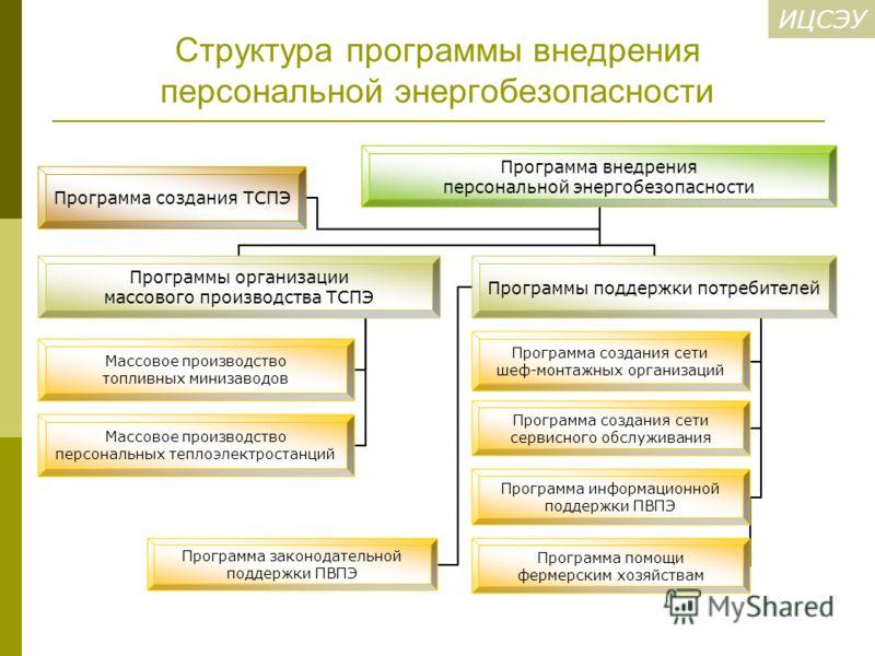 ИЦСЭУ Структура программы внедрения персональной энергобезопасности Программа внедрения персональной энергобезопасности Программы организации массового производства ТСПЭ Массовое производство топливных минизаводов Массовое производство персональных т
