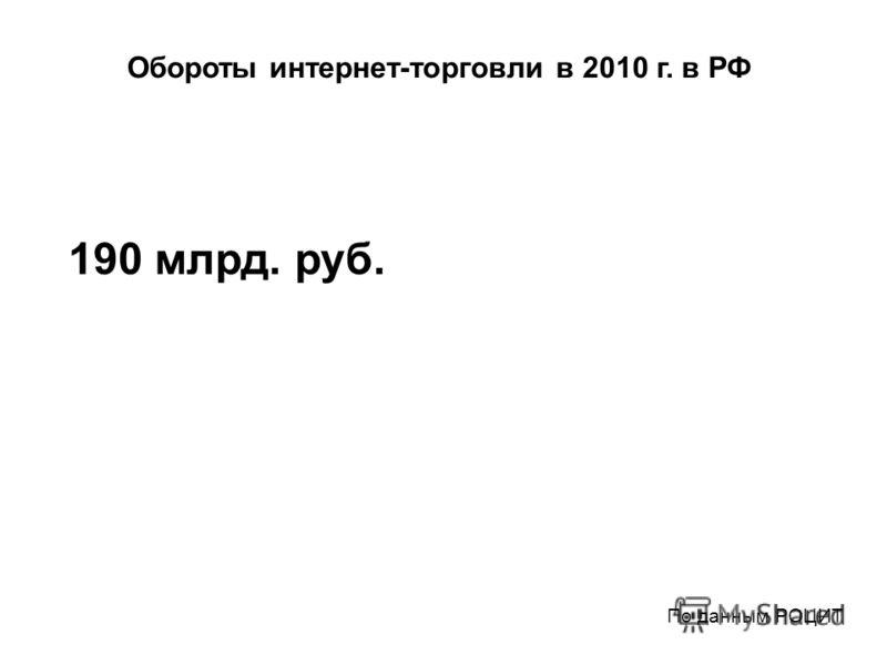 Обороты интернет-торговли в 2010 г. в РФ 190 млрд. руб. По данным РОЦИТ