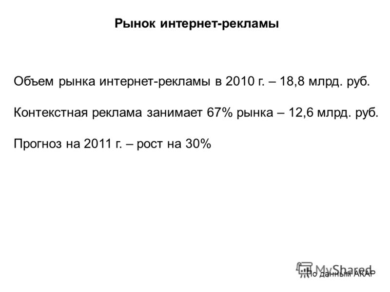 По данным АКАР Рынок интернет-рекламы Объем рынка интернет-рекламы в 2010 г. – 18,8 млрд. руб. Контекстная реклама занимает 67% рынка – 12,6 млрд. руб. Прогноз на 2011 г. – рост на 30%
