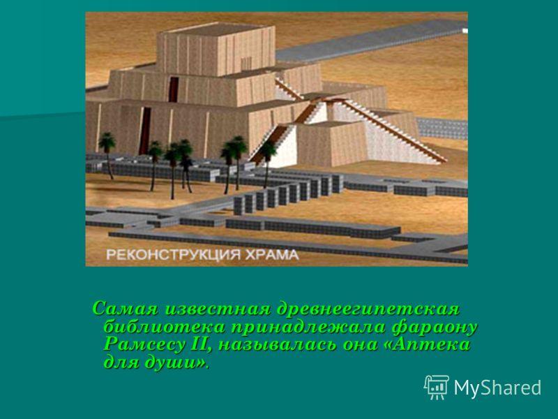 Самая известная древнеегипетская библиотека принадлежала фараону Рамсесу II, называлась она «Аптека для души». Самая известная древнеегипетская библиотека принадлежала фараону Рамсесу II, называлась она «Аптека для души».