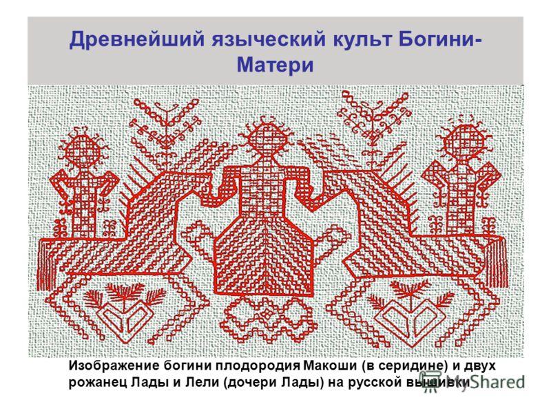 Древнейший языческий культ Богини- Матери Изображение богини плодородия Макоши (в серидине) и двух рожанец Лады и Лели (дочери Лады) на русской вышивки