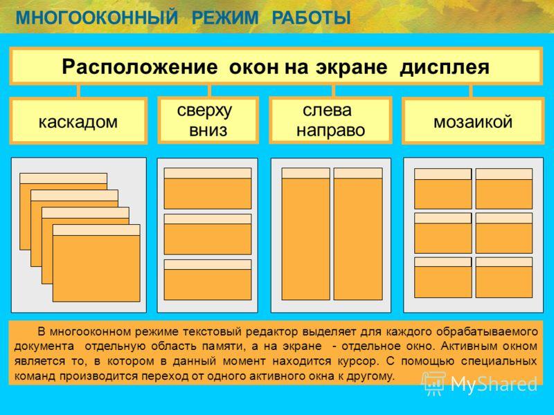 МНОГООКОННЫЙ РЕЖИМ РАБОТЫ В многооконном режиме текстовый редактор выделяет для каждого обрабатываемого документа отдельную область памяти, а на экране - отдельное окно. Активным окном является то, в котором в данный момент находится курсор. С помощь