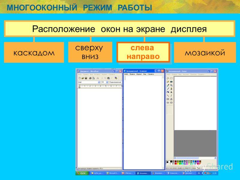 МНОГООКОННЫЙ РЕЖИМ РАБОТЫ сверху вниз слева направо слева направо Расположение окон на экране дисплея каскадоммозаикой