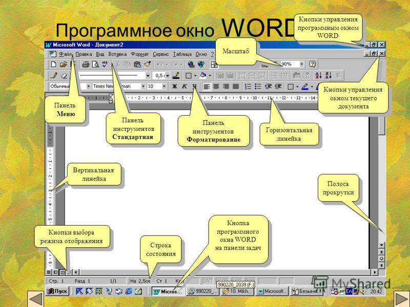 Программное окно WORD Кнопки управления окном текущего документа Кнопки управления окном текущего документа Кнопки управления программным окном WORD Кнопки управления программным окном WORD Панель Меню Панель Меню Панель инструментов Стандартная Пане