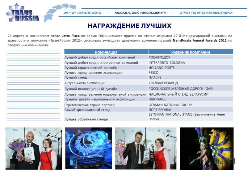 НАГРАЖДЕНИЕ ЛУЧШИХ 24 апреля в московском отеле Lotte Plaza во время Официального приема по случаю открытия 17-й Международной выставки по транспорту и логистике «ТрансРоссия 2012» состоялась ежегодная церемония вручения премий TransRussia Annual Awa