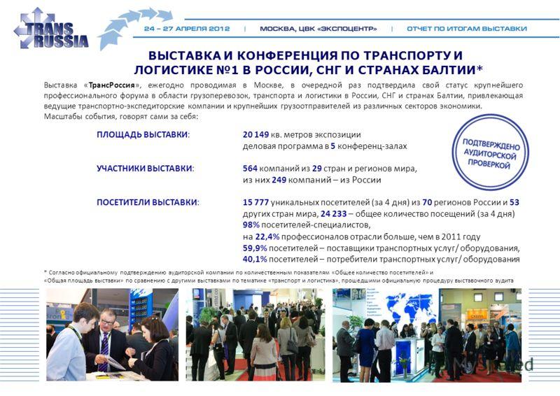 Выставка «ТрансРоссия», ежегодно проводимая в Москве, в очередной раз подтвердила свой статус крупнейшего профессионального форума в области грузоперевозок, транспорта и логистики в России, СНГ и странах Балтии, привлекающая ведущие транспортно-экспе