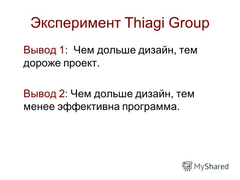 Эксперимент Thiagi Group Вывод 1: Чем дольше дизайн, тем дороже проект. Вывод 2: Чем дольше дизайн, тем менее эффективна программа.