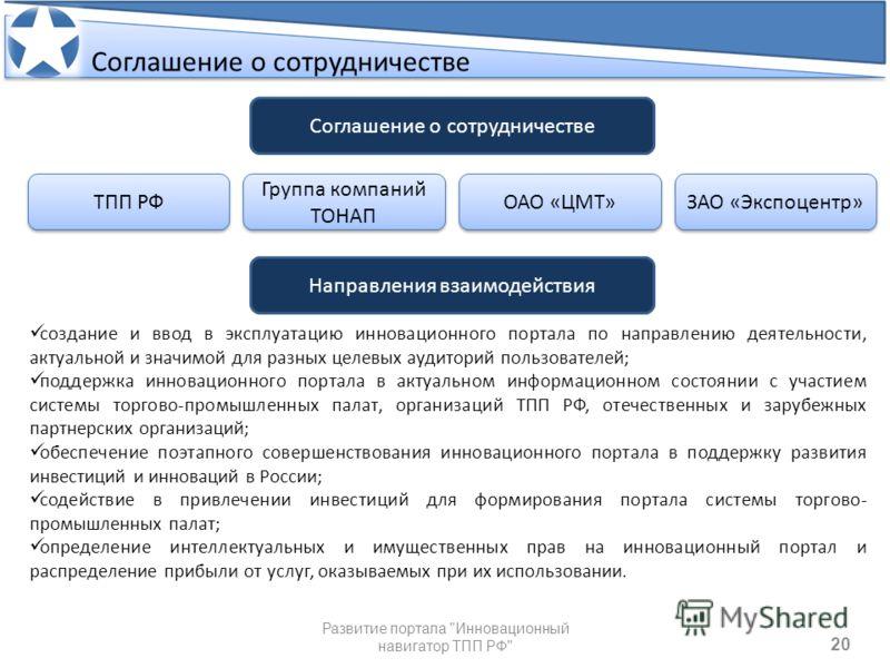 20 Соглашение о сотрудничестве Развитие портала