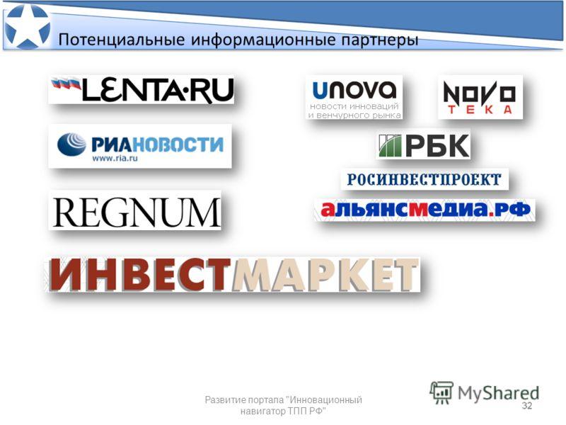 32 Потенциальные информационные партнеры 32 Развитие портала Инновационный навигатор ТПП РФ Потенциальные информационные партнеры