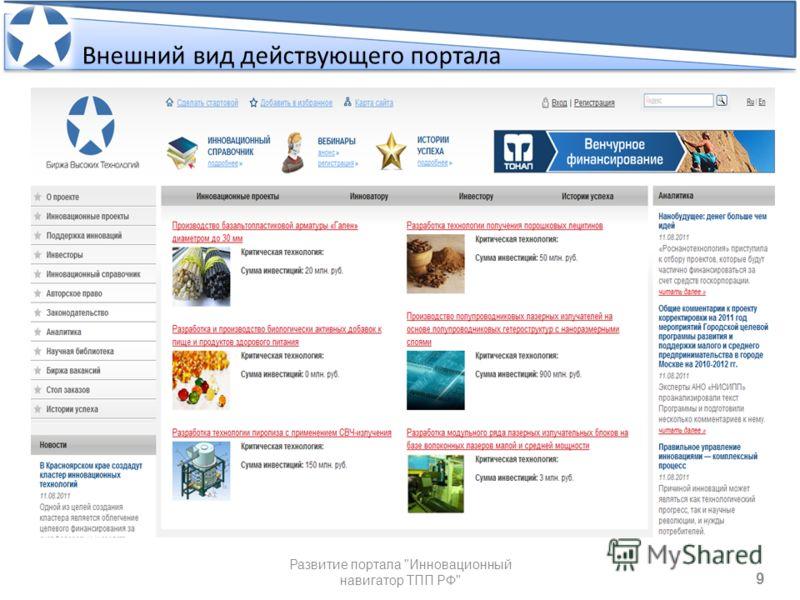 Внешний вид действующего портала 9 9 Развитие портала Инновационный навигатор ТПП РФ