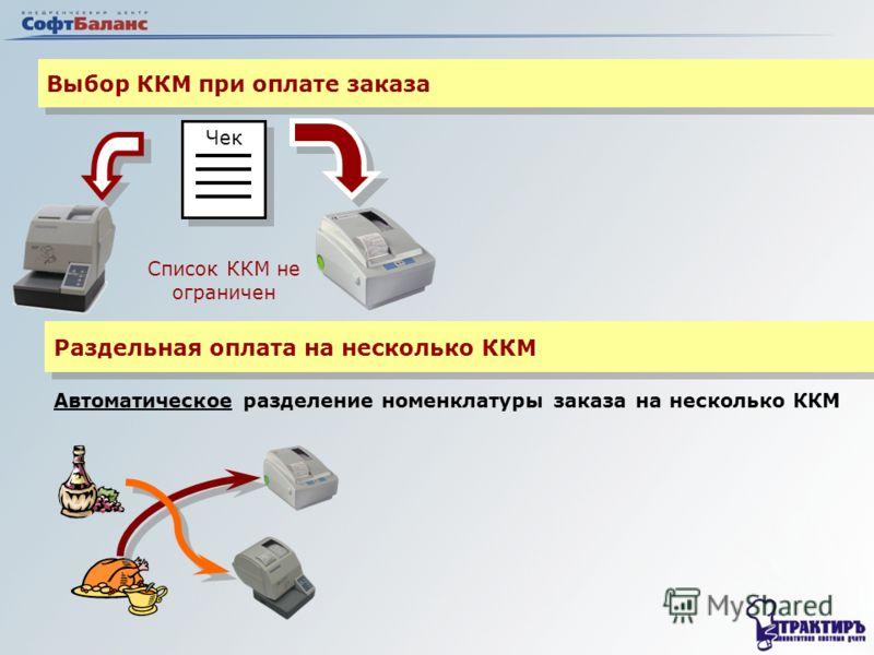 Выбор ККМ при оплате заказа Чек Список ККМ не ограничен Раздельная оплата на несколько ККМ Автоматическое разделение номенклатуры заказа на несколько ККМ