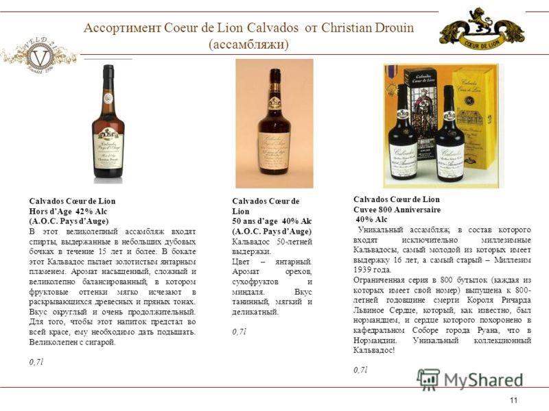 11 Ассортимент Coeur de Lion Calvados от Christian Drouin (ассамбляжи) Calvados Cœur de Lion Cuvee 800 Anniversaire 40% Alc Уникальный ассамбляж, в состав которого входят исключительно миллезимные Кальвадосы, самый молодой из которых имеет выдержку 1