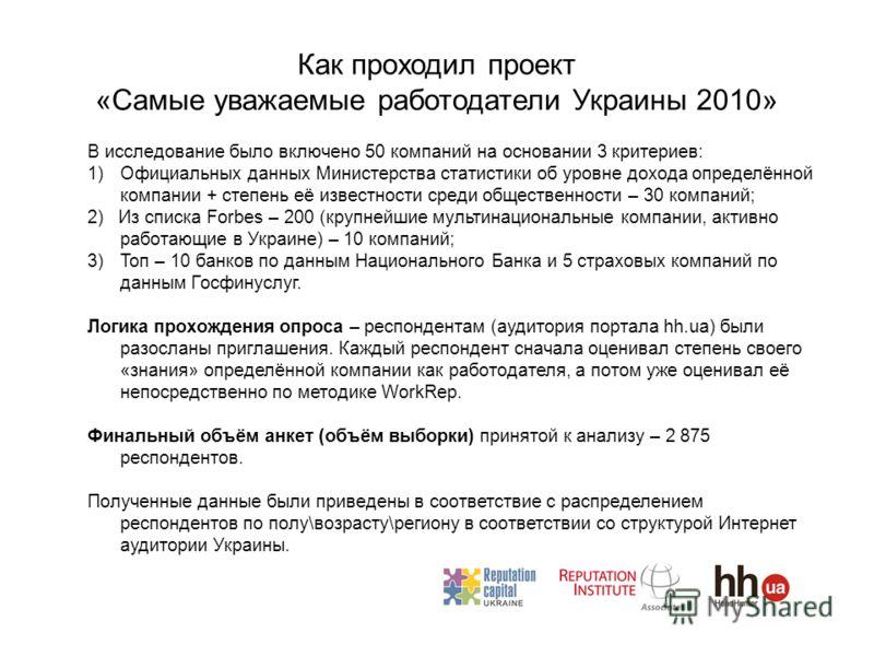 Как проходил проект «Cамые уважаемые работодатели Украины 2010» В исследование было включено 50 компаний на основании 3 критериев: 1)Официальных данных Министерства статистики об уровне дохода определённой компании + степень её известности среди обще