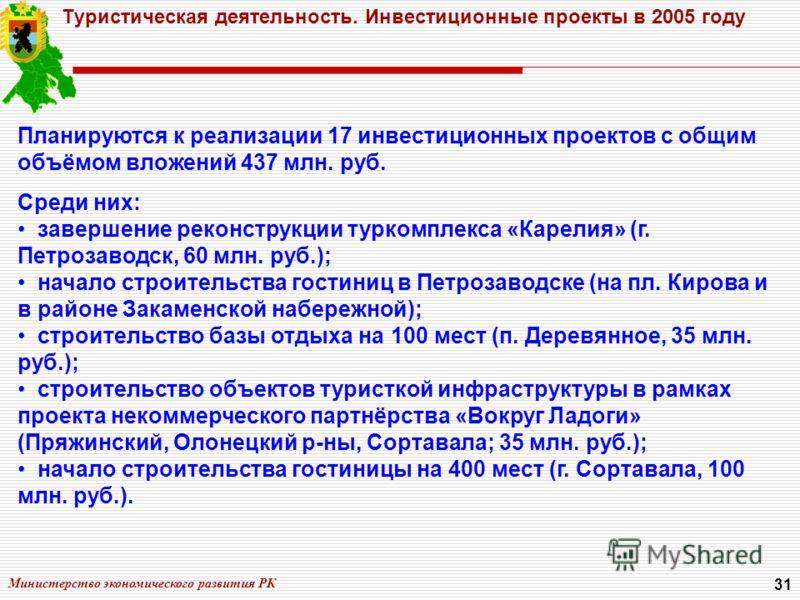 Министерство экономического развития РК 31 Туристическая деятельность. Инвестиционные проекты в 2005 году Планируются к реализации 17 инвестиционных проектов с общим объёмом вложений 437 млн. руб. Среди них: завершение реконструкции туркомплекса «Кар