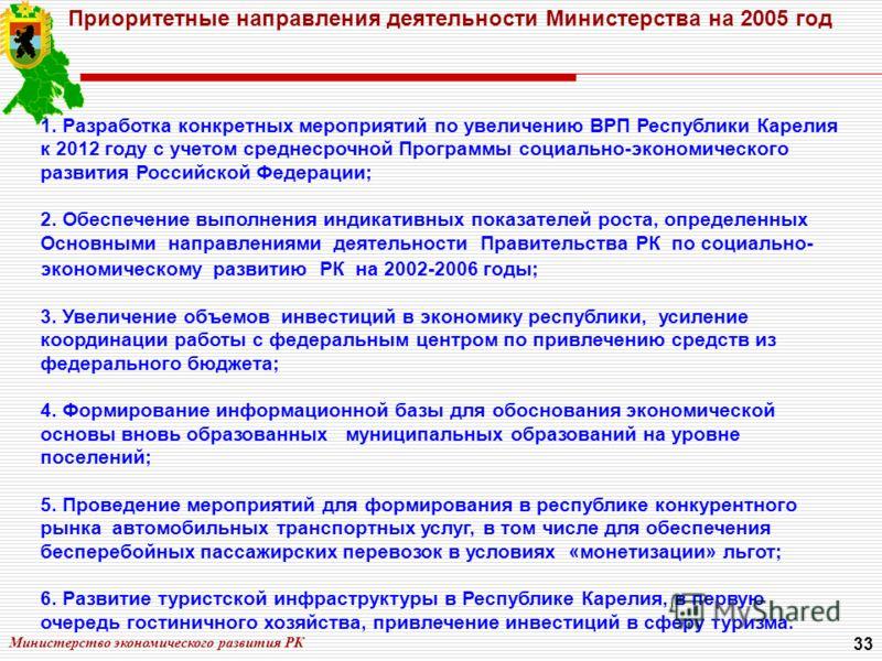 Министерство экономического развития РК 33 Приоритетные направления деятельности Министерства на 2005 год 1. Разработка конкретных мероприятий по увеличению ВРП Республики Карелия к 2012 году с учетом среднесрочной Программы социально-экономического