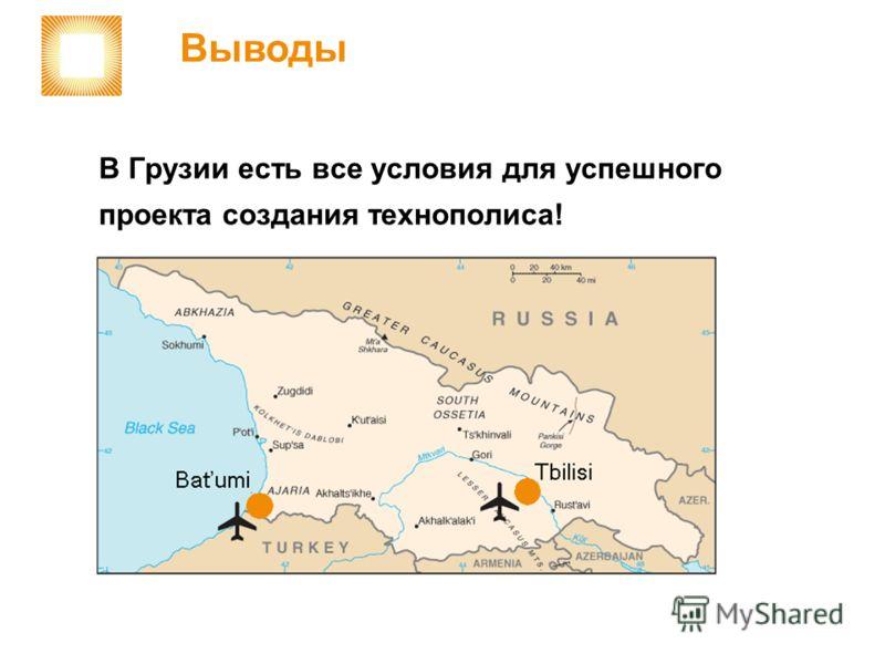 В Грузии есть все условия для успешного проекта создания технополиса! Выводы