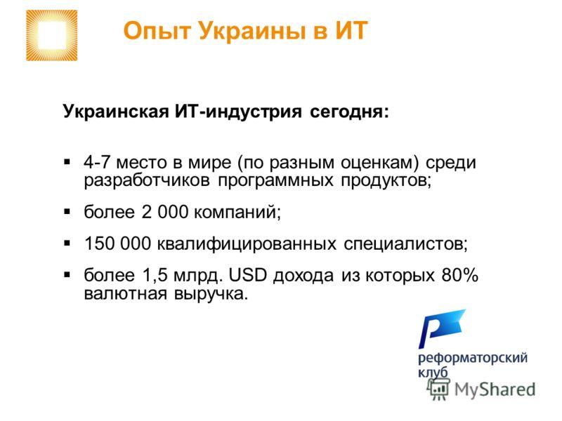 Украинская ИТ-индустрия сегодня: 4-7 место в мире (по разным оценкам) среди разработчиков программных продуктов; более 2 000 компаний; 150 000 квалифицированных специалистов; более 1,5 млрд. USD дохода из которых 80% валютная выручка. Опыт Украины в