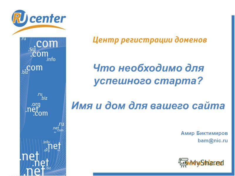 Что необходимо для успешного старта? Имя и дом для вашего сайта Амир Биктимиров bam@nic.ru