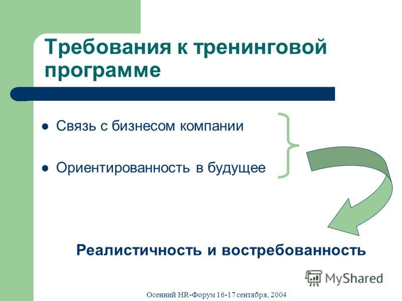 Осенний HR-Форум 16-17 сентября, 2004 Требования к тренинговой программе Связь с бизнесом компании Ориентированность в будущее Реалистичность и востребованность