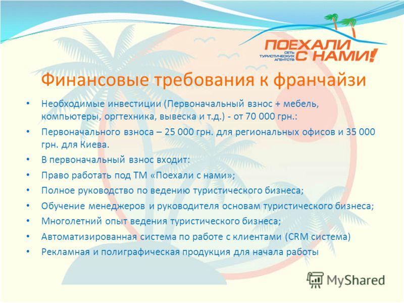 Финансовые требования к франчайзи Необходимые инвестиции (Первоначальный взнос + мебель, компьютеры, оргтехника, вывеска и т.д.) - от 70 000 грн.: Первоначального взноса – 25 000 грн. для региональных офисов и 35 000 грн. для Киева. В первоначальный