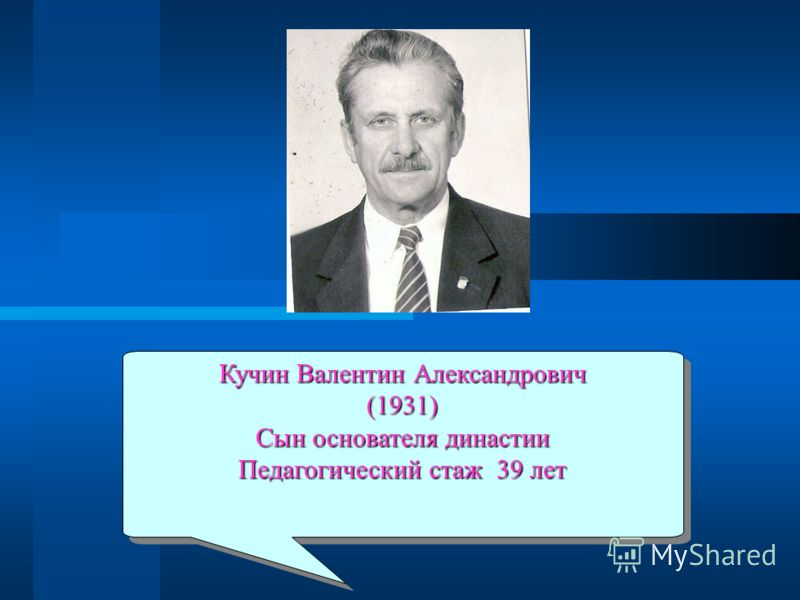 Кучин Валентин Александрович (1931) Сын основателя династии Педагогический стаж 39 лет Кучин Валентин Александрович (1931) Сын основателя династии Педагогический стаж 39 лет