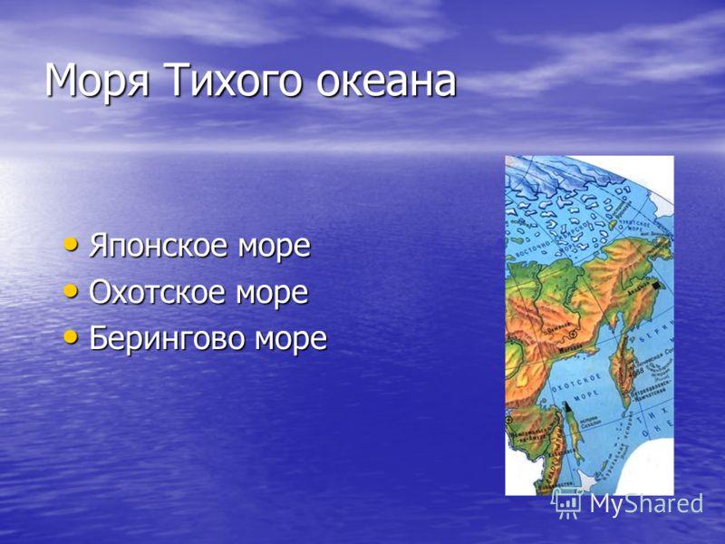 Моря Тихого океана Японское море Японское море Охотское море Охотское море Берингово море Берингово море
