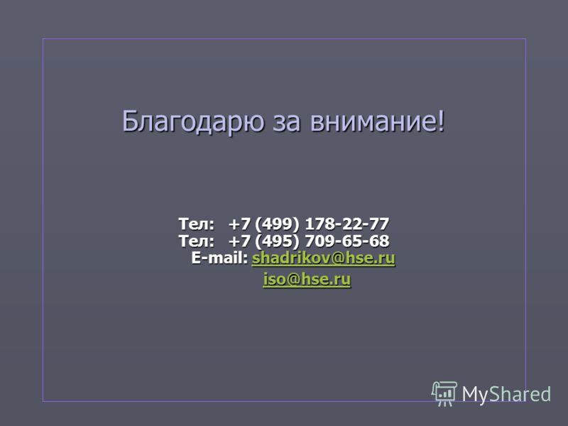 Благодарю за внимание! Тел: +7 (499) 178-22-77 Тел: +7 (495) 709-65-68 E-mail: shadrikov@hse.ru shadrikov@hse.rushadrikov@hse.ru iso@hse.ru iso@hse.ruiso@hse.ru
