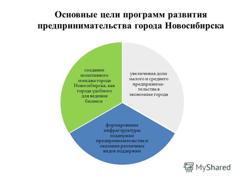 Основные цели программ развития предпринимательства города Новосибирска увеличения доли малого и среднего предпринима- тельства в экономике города формирование инфраструктуры поддержки предпринимательства и оказание различных видов поддержки создание
