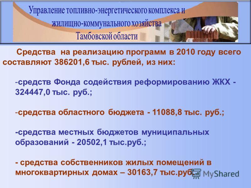 Средства на реализацию программ в 2010 году всего составляют 386201,6 тыс. рублей, из них: -средств Фонда содействия реформированию ЖКХ - 324447,0 тыс. руб.; -средства областного бюджета - 11088,8 тыс. руб.; -средства местных бюджетов муниципальных о