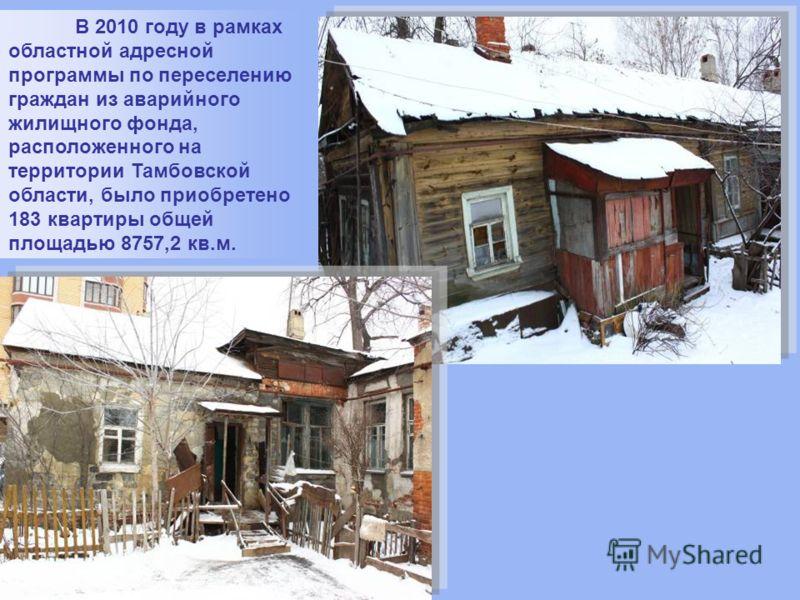 В 2010 году в рамках областной адресной программы по переселению граждан из аварийного жилищного фонда, расположенного на территории Тамбовской области, было приобретено 183 квартиры общей площадью 8757,2 кв.м.