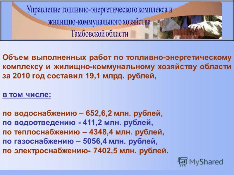 Объем выполненных работ по топливно-энергетическому комплексу и жилищно-коммунальному хозяйству области за 2010 год составил 19,1 млрд. рублей, в том числе: по водоснабжению – 652,6,2 млн. рублей, по водоотведению - 411,2 млн. рублей, по теплоснабжен