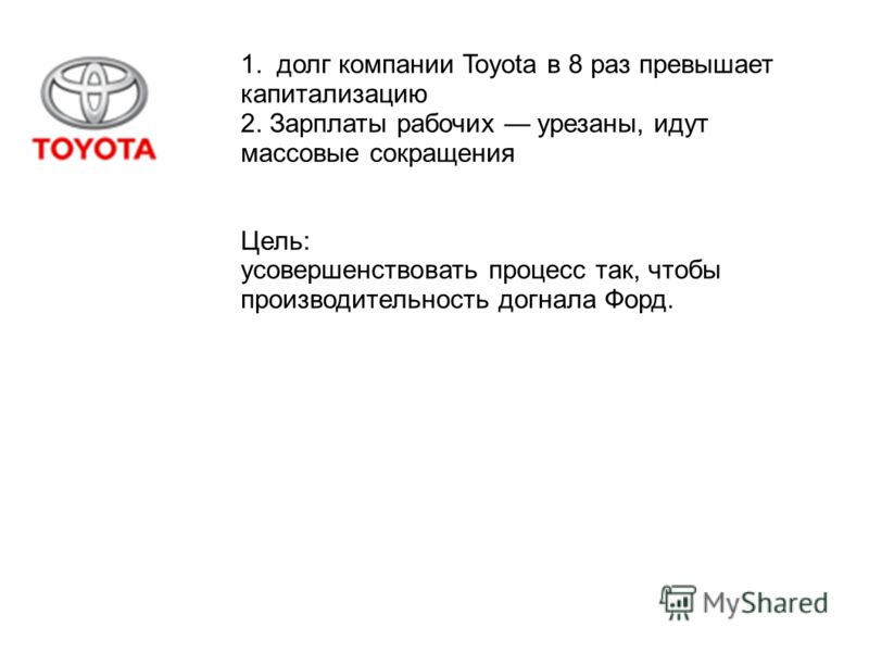 1. долг компании Toyota в 8 раз превышает капитализацию 2. Зарплаты рабочих урезаны, идут массовые сокращения Цель: усовершенствовать процесс так, чтобы производительность догнала Форд.